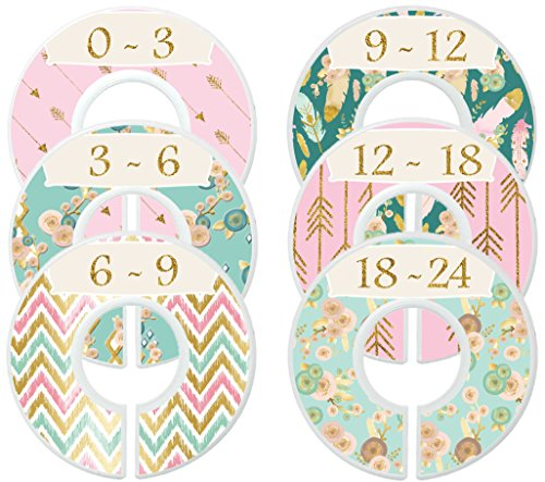 Mumsy Goose Nursery Closet Dividers Closet Organizers Baby Girl Clothes Dividers Pink Gold