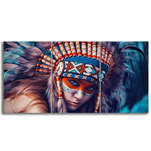 (KALAWA Canvas Print Wall Pictures for Living Room Indian Girl Chief Native American Painting Modern Home Decor Artworks Posters and Prints Pictures 3 Panel Framed Ready to Hang(28''W x 20''H))