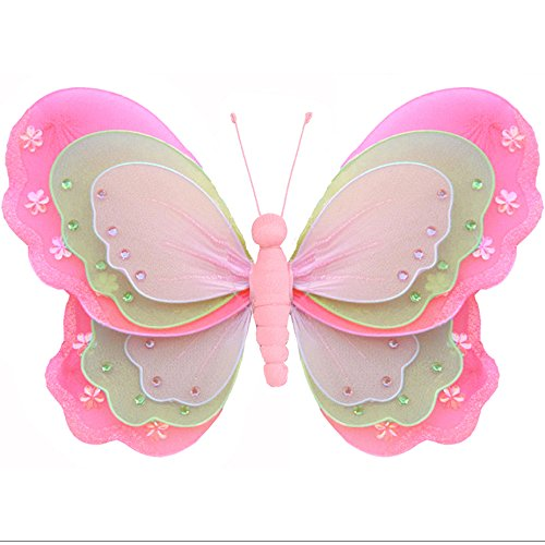 Hanging Butterfly Medium 10 Dark Pink Fuchsia Green Pink Triple Layered Mesh Nylon Butterflies Decorations Decorate Baby Nursery Bedroom Girls Room Ceiling Wall Decor Wedding Birthday Party Shower