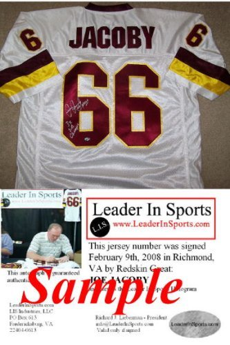 Joe Jacoby Autographed White Jersey - Washington Redskins Double ()