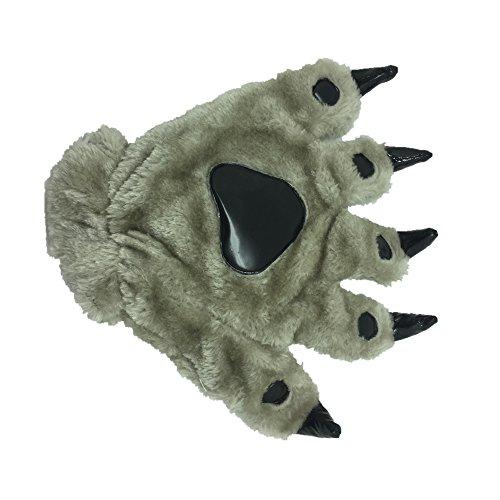 Animal Paw Calw Plush Funny Halloween Costume Hand Gloves Grey -