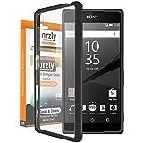 Orzly® - Coque FUSION Bumper Case pour SONY XPERIA Z5 SmartPhone (2015 Modèle / Original Version) - Coque Rigide avec Bordure Renforcée NOIR spéciale absorption d'impact avec dos 100% transparent
