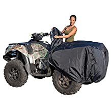 XYZCTEM Waterproof ATV Cover, Heavy Duty Black Canvas Protects 4 Wheeler From Snow Rain or Sun, XL Universal Size Fits Most Quads, Elastic Bottom Can Be Trailerable At High Speeds