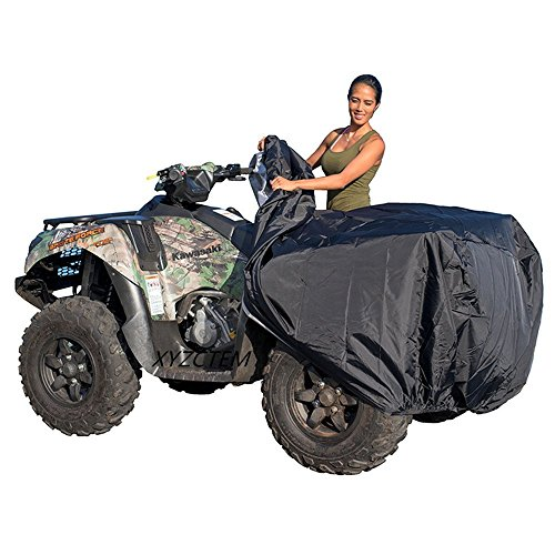 Waterproof Atv Cover - XYZCTEM Waterproof ATV Cover, Heavy Duty Black Protects 4 Wheeler From Snow Rain or Sun, Large Universal Size Fits 100 inch For Most Quads, Elastic Bottom Can Be Trailerable At High Speeds