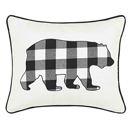 Eddie Bauer Cabin Plaid Bear Throw Pillow, 16 x 20, Black ()