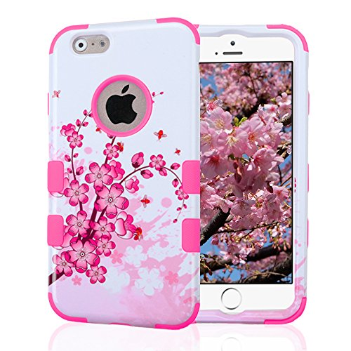 Iphone 3g Cherry (iPhone 6 Case, iPhone 6S Case, JoJoGoldStar Dual Layer Hybrid, Slim Fit Plastic and Silicone TPU Cover with Stylus and Screen Protector - Cherry Blossoms, Pink)