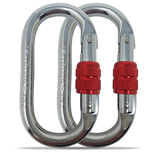 ing Carabiner(25kn=5600lb)Screw Lock Spring Gate Protection,CE Rated Heavy Duty Carabiners For Rock Climbing Rappelling Hiking Hanging Ropes Camping Slack Lines Rigging & Anchoring (Oval Locking Carabiner)
