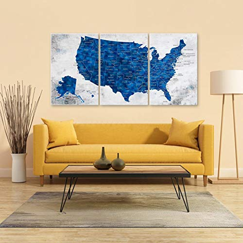 United States Map Canvas Wall Art.Amazon Com Us Map Wall Art Push Pin Travel Us Map Blue United