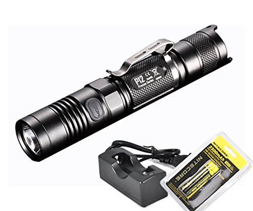 Nitecore Rechargeable Bundle: 2015 Version 1000 Lumens P12 Compact Tactical LED Flashlight, Genuine 18650 Rechargeable Battery and LumenTac Charger