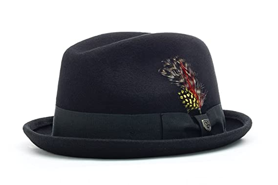 Amazon.com  Brixton Gain Felt Fedora Black Felt Black Band 14677156140
