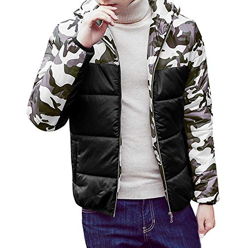 - VEZAD Jacket Mens Autumn Winter Camouflage Print Pullover Long Sleeve Hooded Coat