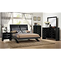 Roundhill Furniture Blemerey 110 Wood Arch-Leg Bed Group with Queen Bed, Dresser, Mirror, Night Stand and Chest, Black