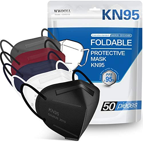 KN95 Face Mask 50 PCs, WWDOLL Multiple Colour 5 Layers KN95 Masks, Filter Efficiency≥95% Protection Against PM2.5 Dust, Air Pollution(Black, White, Grey, Red, Purple)