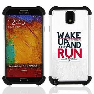 - Wake Up And Run Message - - Doble capa caja de la armadura Defender FOR Samsung Galaxy Note3 N9000 N9008V N9009 RetroCandy
