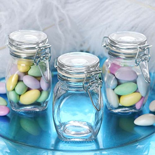 Efavormart 12 Jars 4oz Clear Small Glass Jars W/Glass Lids and Metal Bails for Favor Candy Buffet Event Decor ()