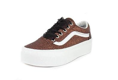 Vans Womens Glitter Old Skool Platform Bronze True White Sneaker - 4.5 2f9e9aaee2