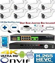 USG Premium Sony + Ambarella Chipset 8 Camera Security System H.265 Ultra 4K PoE IP CCTV Kit : 8x 2MP 2.8-12mm Bullet Camera + 1x 36 Channel 8MP NVR + 1x 10 Port PoE Network Switch + 1x 4TB HD