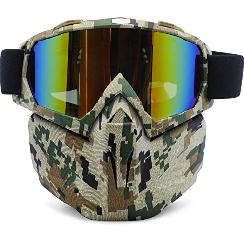 Motorcycle Goggles Removable Face Mask, PP PICADOR Detachable Motocross Windproof Waterproof Dustproof UV Protective Sports Goggles for Dirt Bike, Road Racing, ATV Helmet,Adult,Youth(Camouflage)