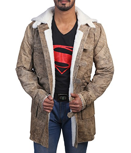 Ultimo Fashions Tom Hardy Bane The Dark Knight Rises Real Leather Faux Shearling Trench Coat Jacket (Large - Chest 48
