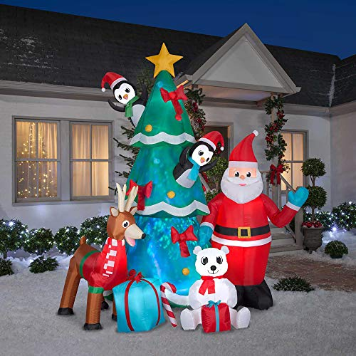 Gemmy 9FT Inflatable Animated Santa with Polar Bear, Reindeer and Penguins with Kaleidoscope Lighting Indoor/Outdoor Holiday Decoration (Animated Christmas Lighting)
