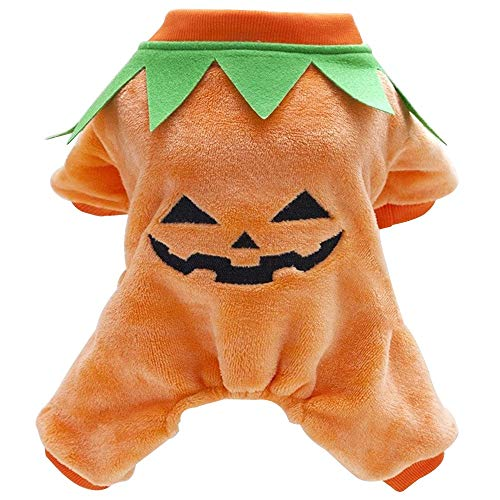 Halloween Pumpkin House Pet Doggy Costume Cosplay Outfit Dogs Cats Dress Jackets Apparel Puppy Pooch Winter Doggy Clothes Jumper Orange House Pet Clothing (Size : M)