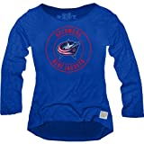 NHL Columbus Blue Jackets Women's Long Sleeve Relaxed Fit Boat Neck Top, X-Large, Navy