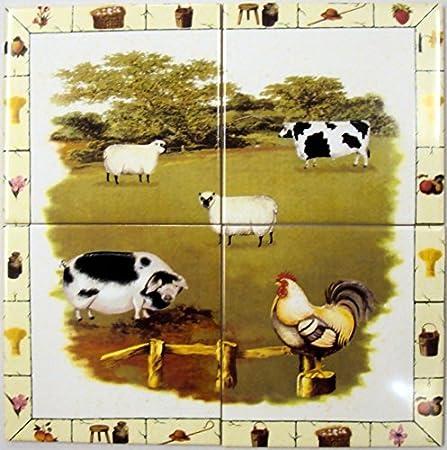 Farm Yard Tiles Mural Decorative Farm Country Scene Wall Tiles Mural ...