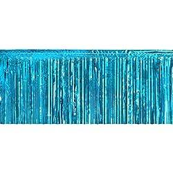 Teal Metallic Fringe Table Skirt