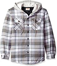 Wrangler Men's Authentics Long Sleeve Quilted Lined Flannel Shirt Jacket, Cloud Burst with Gray Hoo