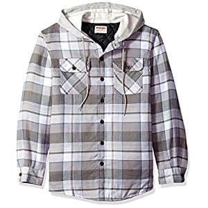 Fashion Shopping Wrangler Authentics Men's Long Sleeve Quilted Lined Flannel Shirt Jacket with Hood