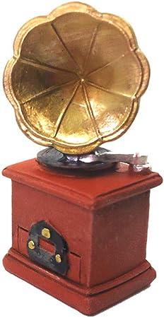 Dollhouse Retro Phonógrafo Tocadiscos de vinilo decorativo muebles y accesorios para escalera 1/12 DIY miniatura casa de muñecas, decoración DIY DIY artesanía, proyecto de clase de artesanía: Amazon.es: Hogar