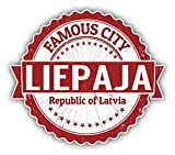 "Liepaja City Latvia Grunge Travel Stamp Car Bumper Sticker Decal 5"" x 4"""