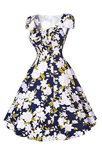 1940er Jahre Vintage Kurzarm geraffte Swing Kleid für Damen Black