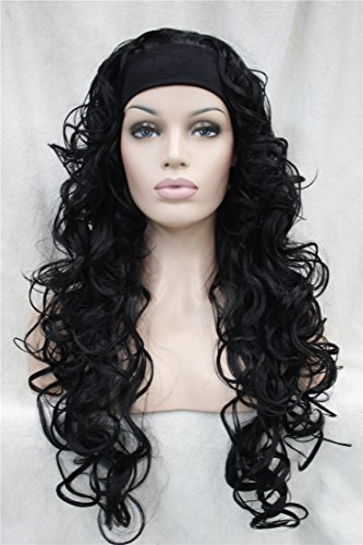 Kalyss Womens Long Curly High Heat Resistant Synthetic Black Headband As Real Hair Wig