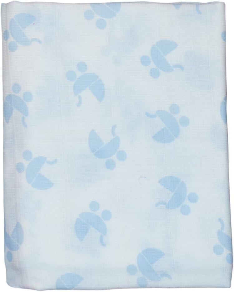 Pekebaby Muselina Algodón Estampada (120 x 120 cm) COCHECITO azul ...