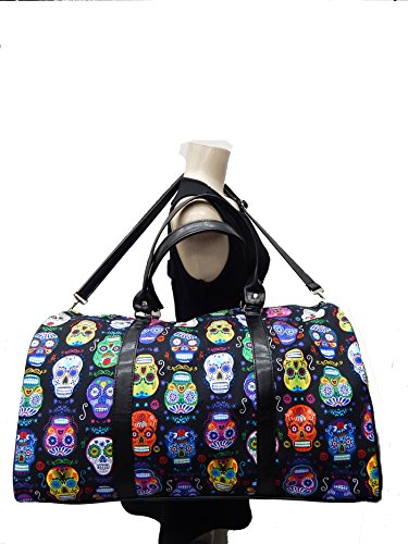 USA Handmade Fashion Large Duffel Bag Shoulder Bag With SUGAR SKULLS Pattern Sports Bag ,COTTON, NEW, LDF 1051