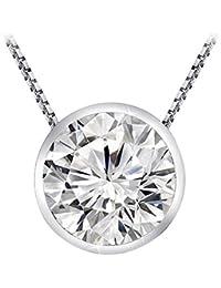 0.25 1/4 Carat 14K White Gold Round Diamond Solitaire Pendant Necklace Bezel J-K Color I1 Clarity