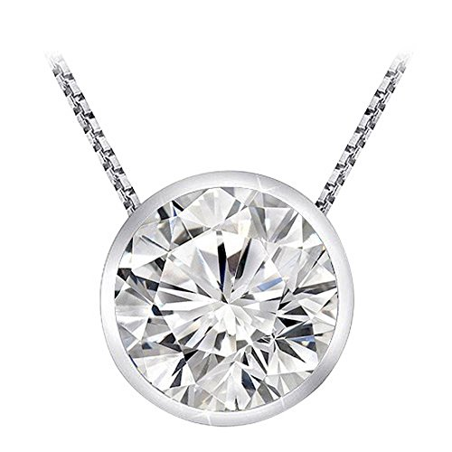 - 0.5 Carat 14K White Gold Round Diamond Bezel Solitaire Pendant Necklace J Color I2 Clarity w/ 18