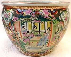 Rose canton porcelain fish bowl 20 garden for Fish bowl amazon