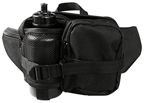 G8DS® Hüfttasche Bauchtasche Gürteltasche schwarz inkl. Trinkflasche und verstellbarem Bauchgurt