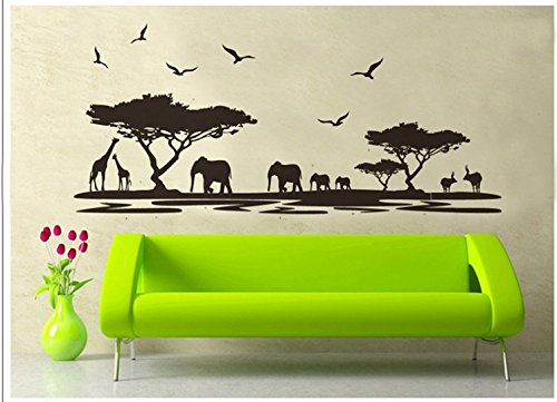 Ayutthaya Shop [Fundecor] African safari stickers, children's bedroom, cartoon bedroom, cartoon stickers, elephant decoration, black giraffe - Hours Outlet Monroe
