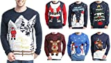 Daisysboutique Mens Holiday Reindeer Snowman Santa Snowflakes Sweater