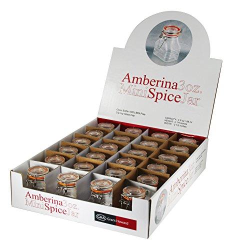 Grant Howard 3 Ounce Amberina Mini Spice Jars, Set of 24 ()