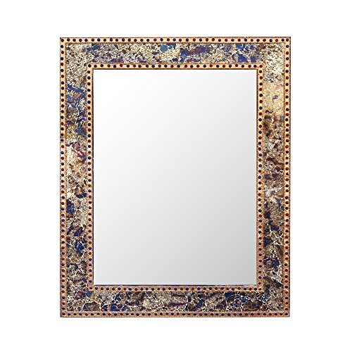 Mosaic  Crackled Glass Decorative Wall Mirror, Fired