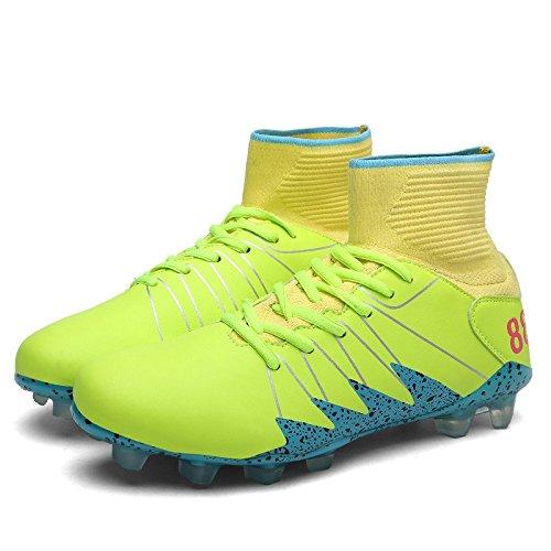 Xing Lin Chaussures De Football Nouvelles Chaussures De Football Crampons Aide Haute Chaussures De Football Masculin Doux Et Confortable Et Antidérapante Et Résistant À LÉcrasement, 42, Jaune