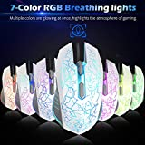 VersionTECH. RGB Gaming Mouse, Ergonomic USB Wired Optical Mouse Mice with 7 Colors LED Backlight, 4 DPI Settings Up to 2400 DPI, 6 Programmed Buttons for Laptop PC Computer Games & Work –White