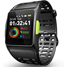 GPS Running Watch, Smart Watch Fatigue Analysis Heart Rate/Sleeping/Fatigue Monitor IP67 Waterproof Fitness Tracker with Multi-Sports Mode Message Notifications Color Touch Screen For Android and IOS