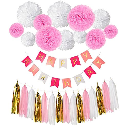 Derhom Happy Birthday Banner Bunting Pink Set - Birthday Party Decorations Banner - Garlands Tissue Paper Pom Poms flowers Ball - Paper Tassels for DIY Happy Birthday Decorations