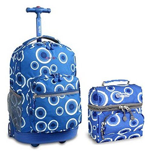 J World Target Blue Sunrise Roller Backpack Back Pack and Corey Lunch Bag Bundle Set