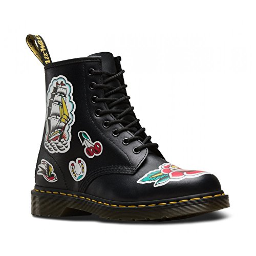 8 Eyelet Dr Tattoo Martens Leather White Backhand Asi Chris Boots Womens 1460 BIwOX